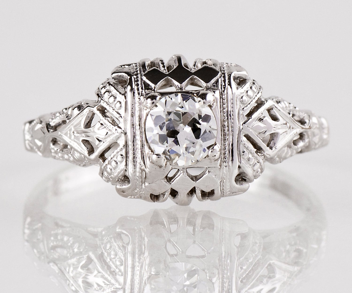 antique engagement ring antique edwardian 18k white gold