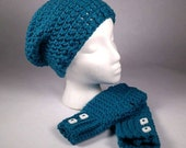 OCEAN TIDES Chunky Crocheted Wrist Warmer and Slouchy Hat SET - Keep Warm in Style this Winter