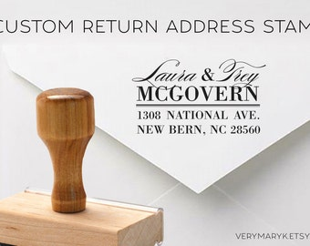 CUSTOM Return Address Rubber Stamp, Custom Stamp, Logo Stamp, Personalized Rubber Stamp with wooden handle