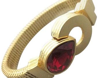 MINT. Vintage Givenchy golden round and flat chain bracelet with red teardrop shape Swarovski stone. Great gift idea