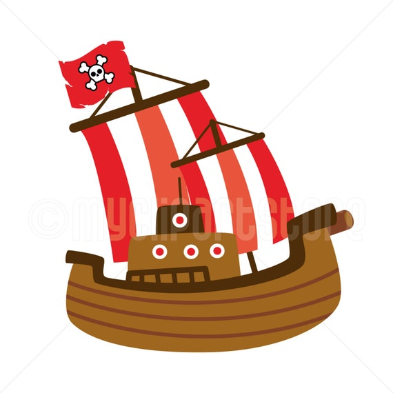 Clipart - Red Pirate Ship / Boat / Sailing - (Single Clipart Image ...