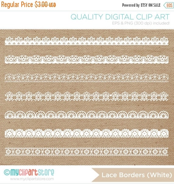ON SALE - Rustic Chic Lace Borders Clip Art (white, cream and black) / Digital Clipart - Instant Download