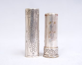 STENDHAL Paris Antique Art Nouveau Etched Gothic Engraved Silver Compact Lipstick Holder