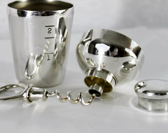 Antique Napier Silver Barware Travel Set, Corkscrew, Bottle Opener, Funnel, Shot Glass