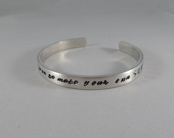 sometimes you have to make your own SUNSHINE - Hand Stamped Inspirational Bracelet - Motivational - Mantra Cuff - Positive Thinking - kg4321