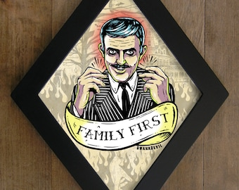Gomez Addams (Family First) diamond framed print.