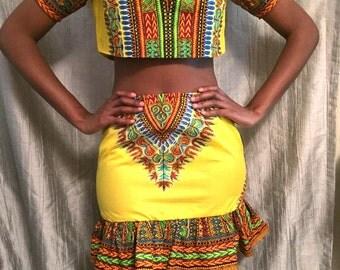 Dashiki 2 piece crop top skirt set
