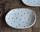 Handmade Stoneware Plate - Patterned Plate - Ceramic Plate - Pottery Plate