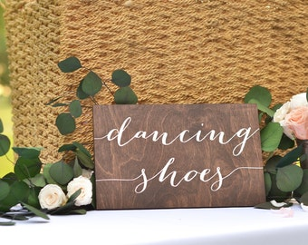 Dancing Shoes Sign, Wedding Dancing Shoes Sign,  Wedding flip flops sign, Wooden Wedding Signs