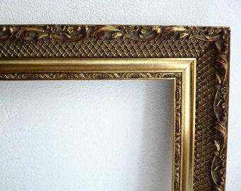 Vintage GESSO FRAME, Wood Plaster Frame, Ornate Gold Toned Frame, Flower and Leaf Border.