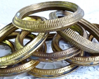 Antique FRENCH CURTAIN RINGS, Set of 9 Gilt Metal Rings, Pressed Brass Curtain Rings. Drapery Rings.