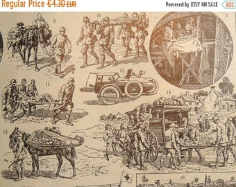 Sale 50 % Off 1 Antique FRENCH DICTIONARY ILLUSTRATION, A4,  Military Ambulance Print, 1 sided. Black and White.