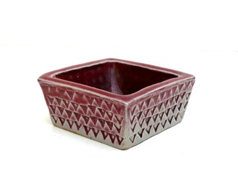 Red And White Square  Bowl , Copper Red Glaze ,  Slab Built Dish