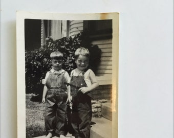 Vintage Photo of Sibling Brothers in Overalls from the 1910s or 1920s
