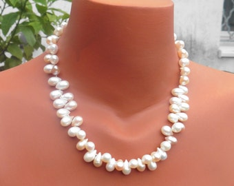 Short pearl necklace,real pearls,drop pearls,bride necklace,white ,rose, salmon, ivory,wedding, christmas present