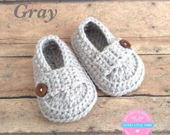 Baby Loafers, Crochet Baby Boy Booties, Crochet Baby Boy Shoes, Baby Boy Shoes, Boy Baptism Booties, Boy Christening Booties, Gray Booties