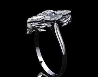 Art Deco Skull Ring with .50ct Asscher Cut Diamond Center in 14K Gold