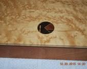 "Vintage Wood Veneer Jewelry Box Mens 10x6"" velour lined Decorative"