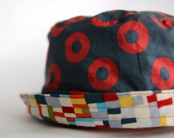 """Adult & Child Sizes PHISH Bucket Hat/Sun Hat with Michael Miller """"sea holly teal tiny patches"""" fabric"""