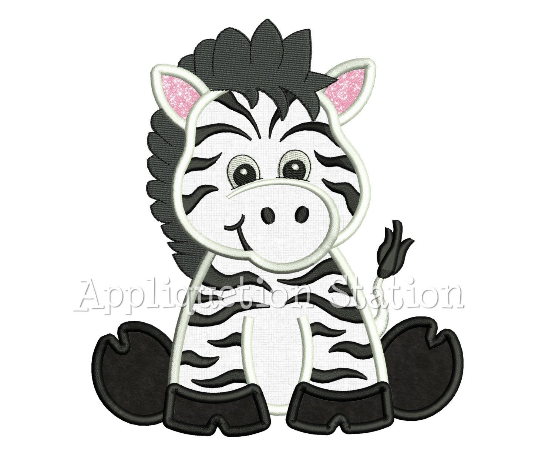 Zoo baby zebra applique machine embroidery design safari cute