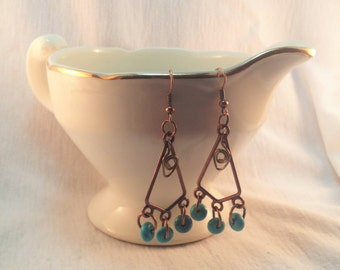 Copper Chandelier Earrings With Turquoise Beads