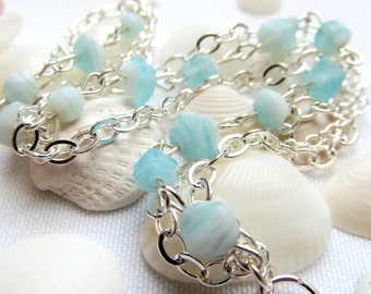 Silver Blue and White Bracelet - Shell Layered Silver Chain Bracelet - Shoreside
