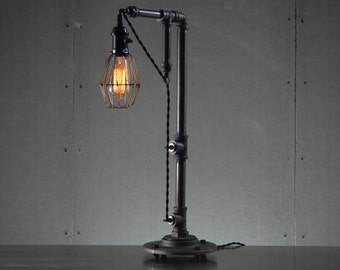 Industrial Table Lamps - Edison Bulb Light - Table Lamp - Industrial Lighting - Bulb Cage - Rustic Lighting