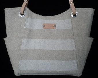 Medium Purse, Handmade, Beige Stripes, Striped Purse, Handbag, Wheat, Stripes, Leather Straps, Summer Purse