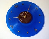 ELVIS PRESLEY - Record Clock  - Moody Blue - Blue Vinyl - Upcycled