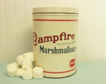 Vintage Campfire Marshmallows Tin, Borden Cracker Jack Company Tin, Metal Storage Canister, Advertisement Advertising Tin