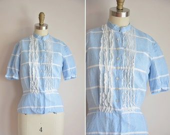 50s Plaid Metro top/ vintage 1950s blouse/ blue plaid ruffle blouse