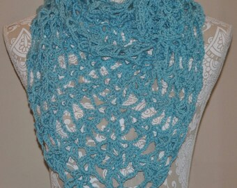 Crochet Shawl - Light Blue - Lacy Handmade Wrap - Shawls and Wraps - Ladies Summer Shoulder Wrap - Open Weave Crochet - Women's Accessory