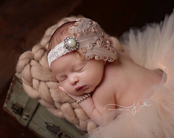 Cream headband, newborn headband, baby headband, feather headband, Ivory feather, Ivory headband, newborn photo prop, beautiful headband