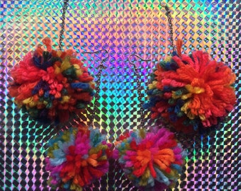 RAINBOW POM POM Dangle Earrings
