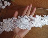 ivory alencon lace trim with 3D flowers, cord lace trim with 3D appliques