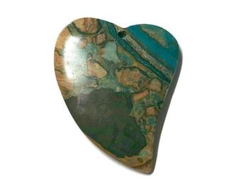 Blue Ghost Eye Jasper Heart Pendant - 725