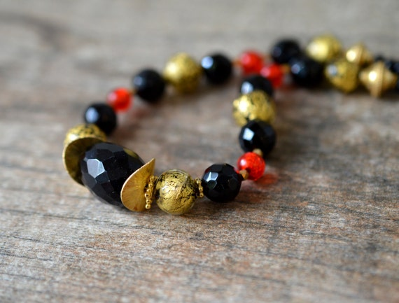 Sophisticated black onyx necklace Venetian necklace Red orange Murano glass bead necklace with gold vermeil Single strand office necklace