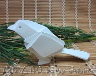 White Bird Figurine  Paper Letter Weight Statue Decoration Abstract Origami Modern Contemporary Resin Molded Vintage FREE SHIPPING (458)