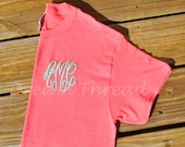 Monogram Embroidered T-Shirt, Left Chest Monogram, Monogram Tee Shirt (made to order)