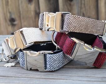 Sand Tweed Herringbone Dog Collar - Adjustable Collar with Metal Hardware and Metal Buckle, Winter Dog Collar