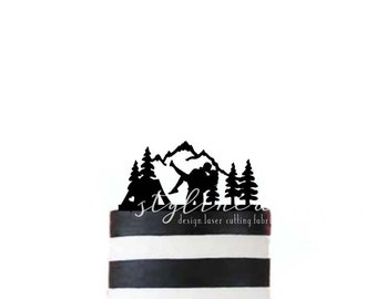 Bride and Groom Camper - Tent and Mountains - Outdoor Cake Topper