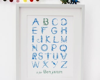 Alphabet Bugs or Bunnies Nursery print to customize