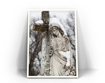 Religious Statue Photograph - fine art photography, cemetery print, Easthampton Massachusetts, gothic wall art, iconography, Mary Magdalene