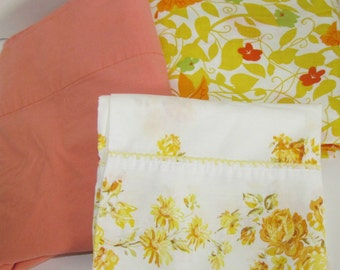 Vintage REMIX Twin Bed Sheet Set, NOS Morgan Jones, Yellow Orange Green Floral Butterfly, Dorm Bed Linens, Crafting Quilting Fabric