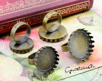 50% off--10pcs Brass Antique Bronze Adjustable Ring Blank With 20mm / 25mm Round Crown Base Setting