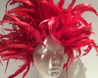 Red Fascinator -Red Feather Fascinator- Red Headpiece -Steampunk- Derby Wedding- Mardi Gras- Cruella Costume -Halloween- Drag