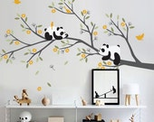 Pandas Branch with Flowers - Nursery Tree Wall Decal Sticker