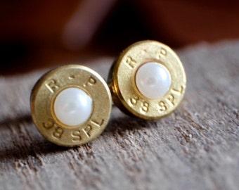 Bullet pearl earring studs bullet 38 special bullet earrings white pearl crystal stud surgical steel