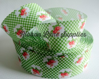 """1.5"""" Ribbon by the Yard-Vintage Retro Green gingham & red flowers- grosgrain ribbon by Ribbon Lane Supplies"""