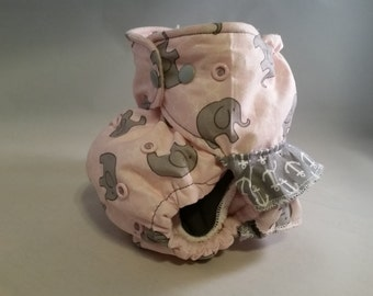 OS AI2 Ruffled Diaper Pink and Gray Elephants